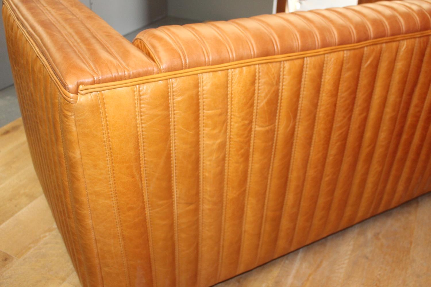 English ribbed leather sofa. - Image 2 of 2