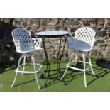 Wrought iron drinks stand and two stools