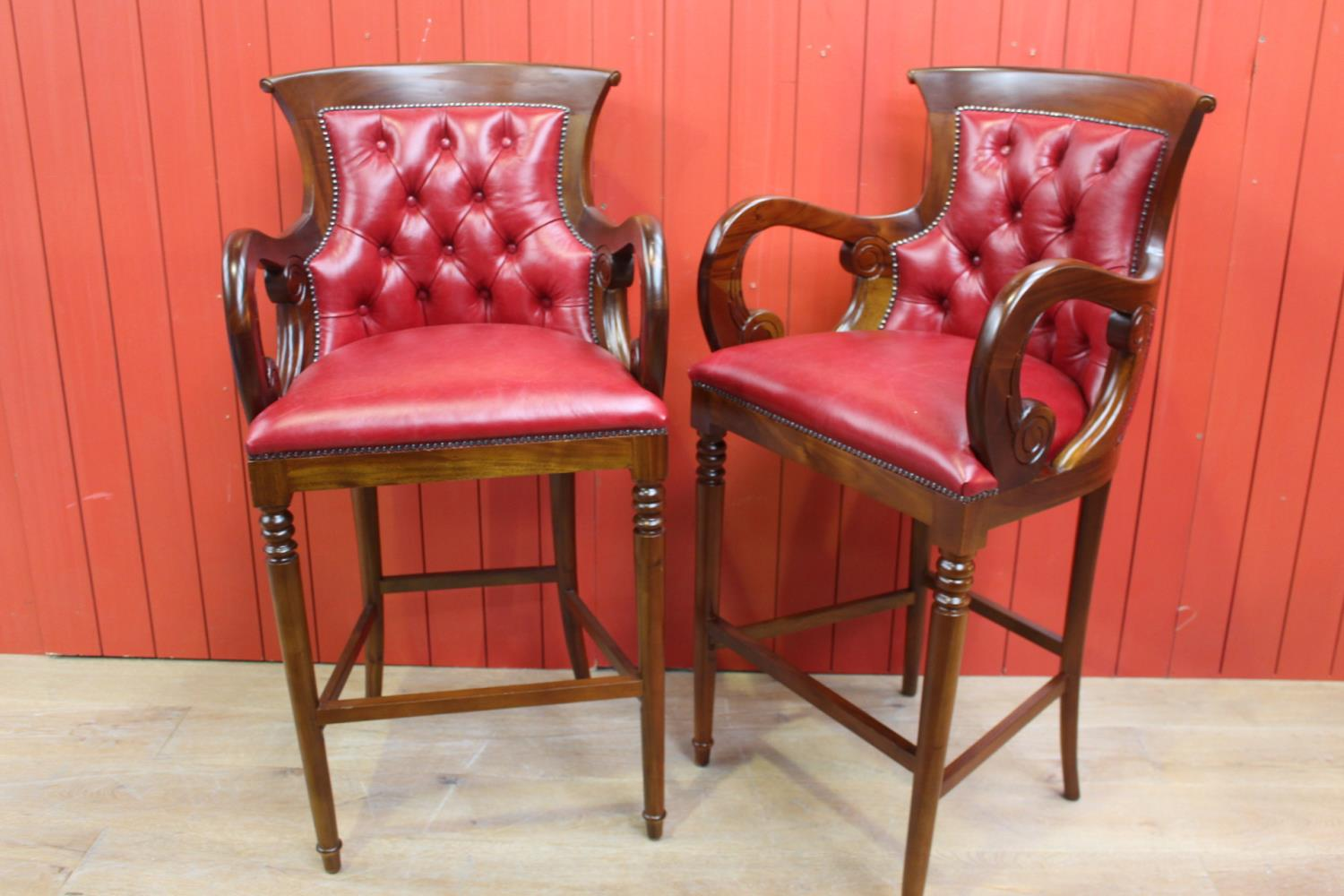 Pair of upholstered high stools