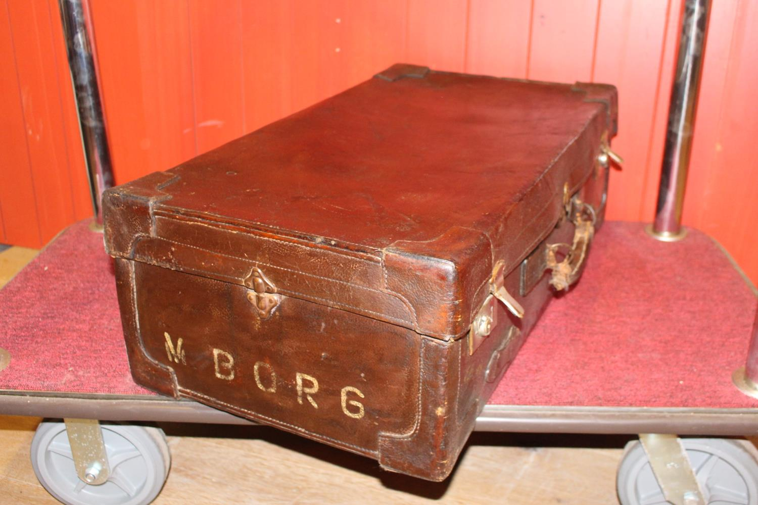 Leather bound military suitcase