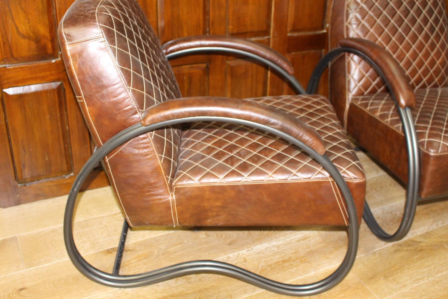 Pair of leather upholstered metal armchairs - Image 2 of 3