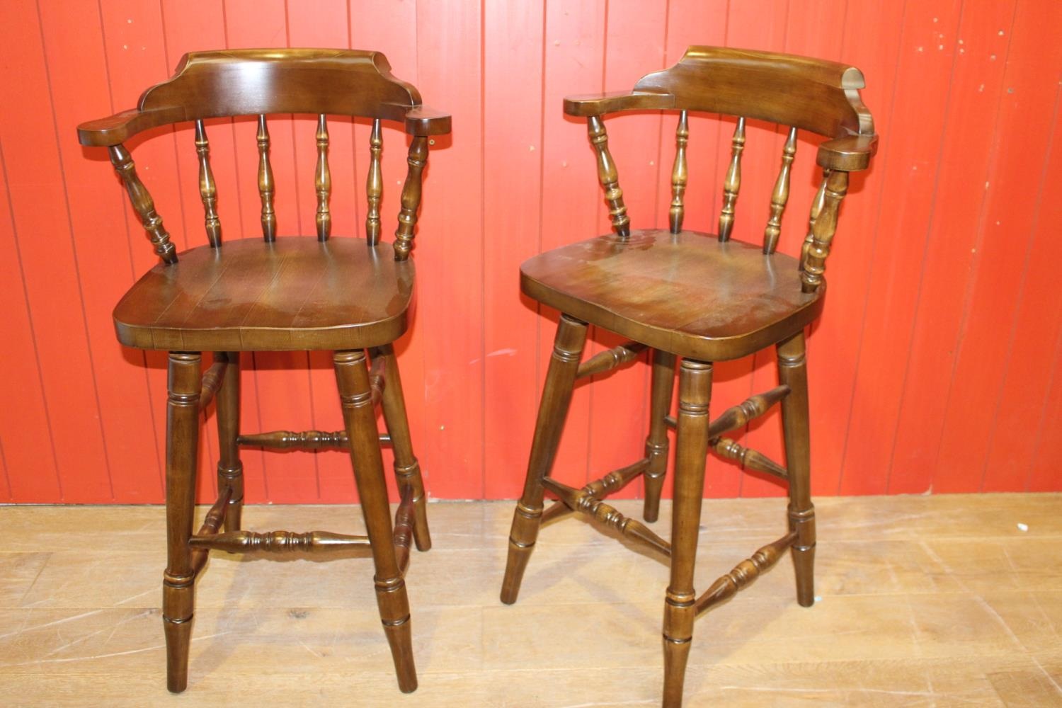 Pair of high smoker's bow stools
