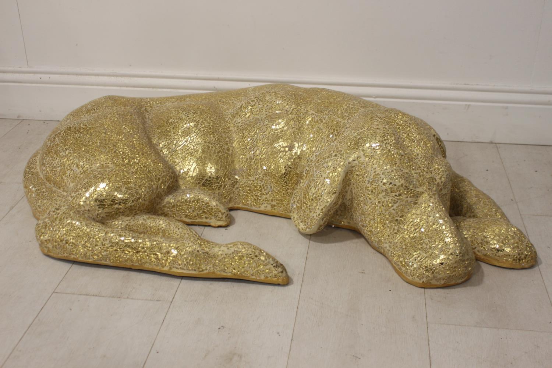 Golden glass mosaic model of Resting Dog