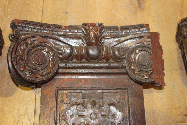 Three 19th C. carved oak flat columns - Image 6 of 6