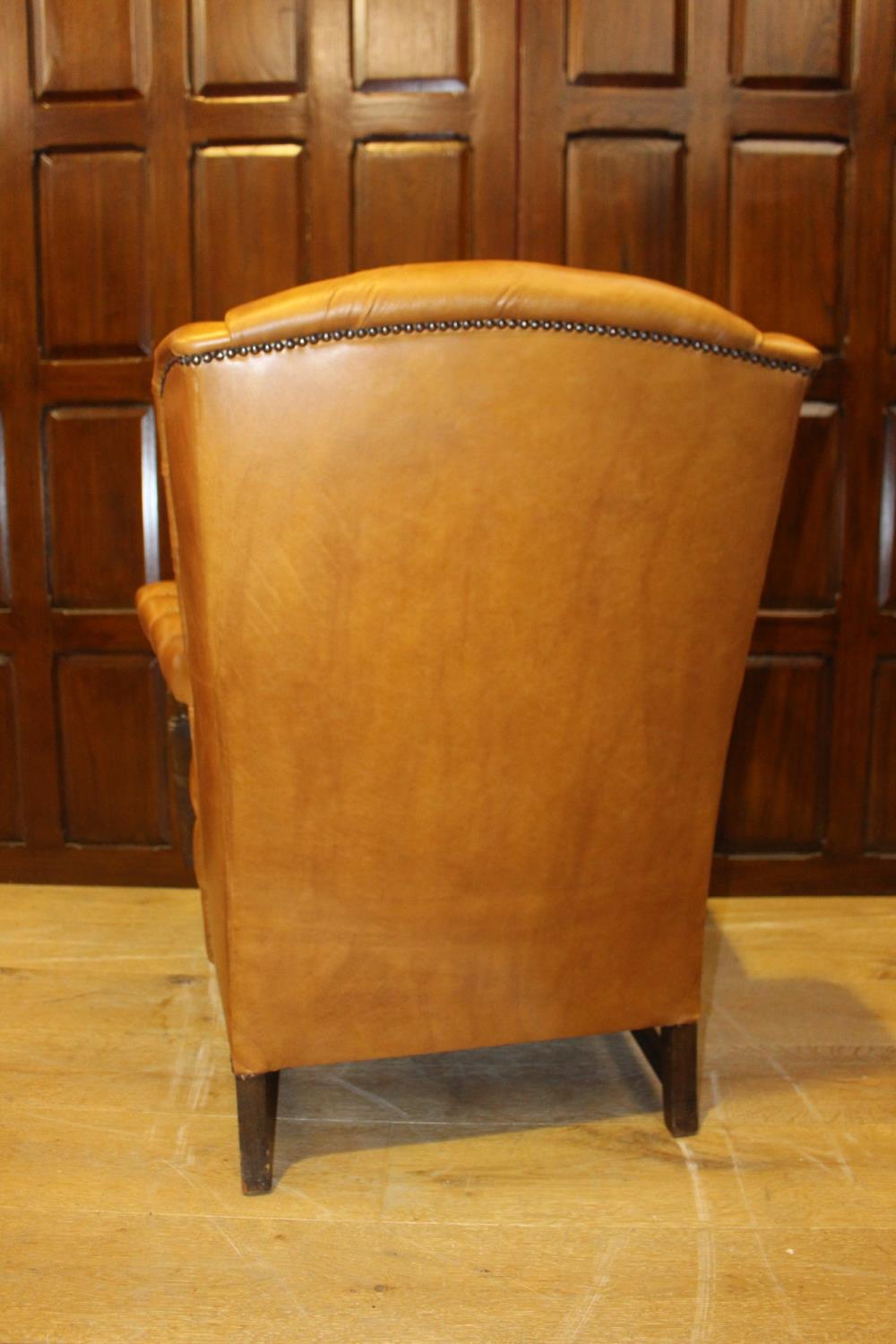 Leather wingback open armchair. - Image 3 of 3