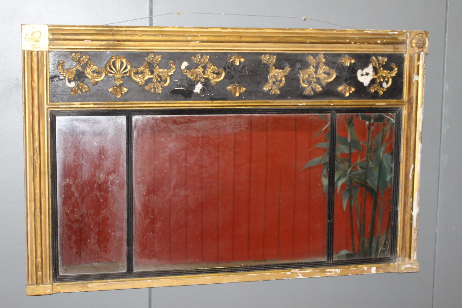 19th C. triple plate giltwood overmantle