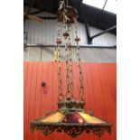 Brass and glass hanging ceiling light