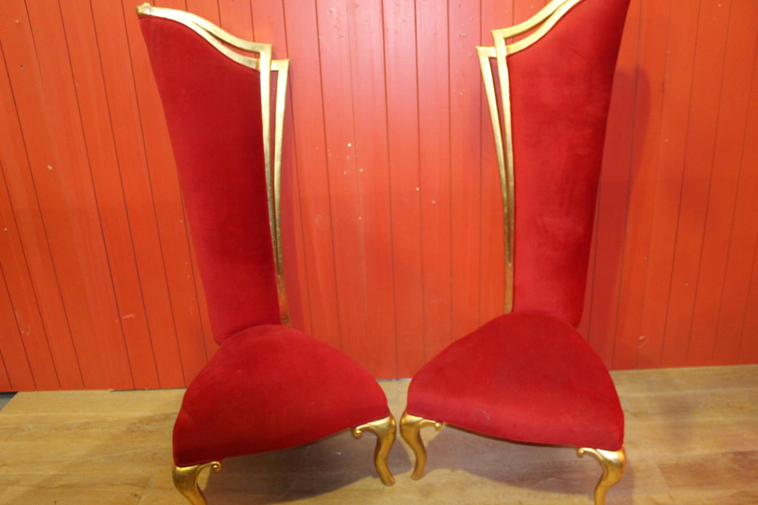 Giltwood high backed chair