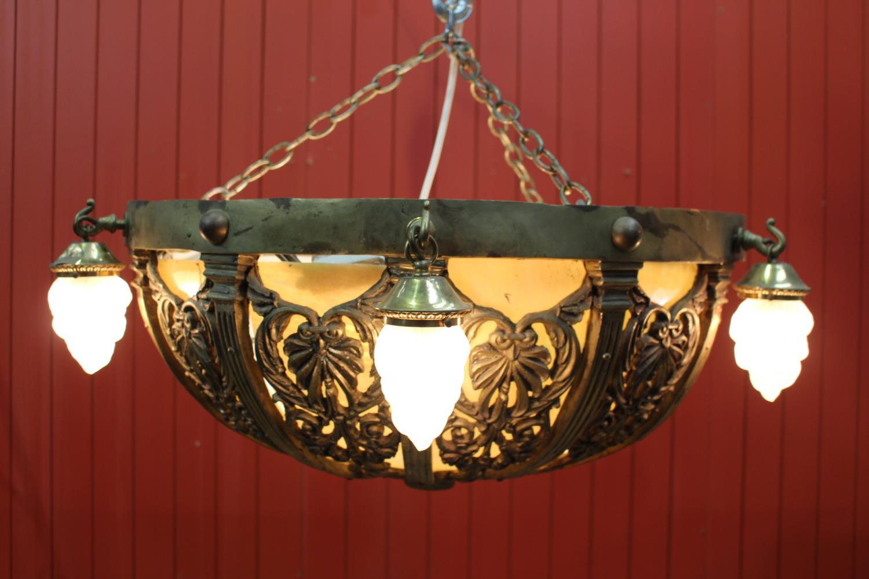 Brass and opaque glass centre light
