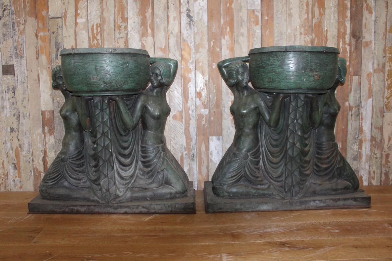 Pair of Bronze urns