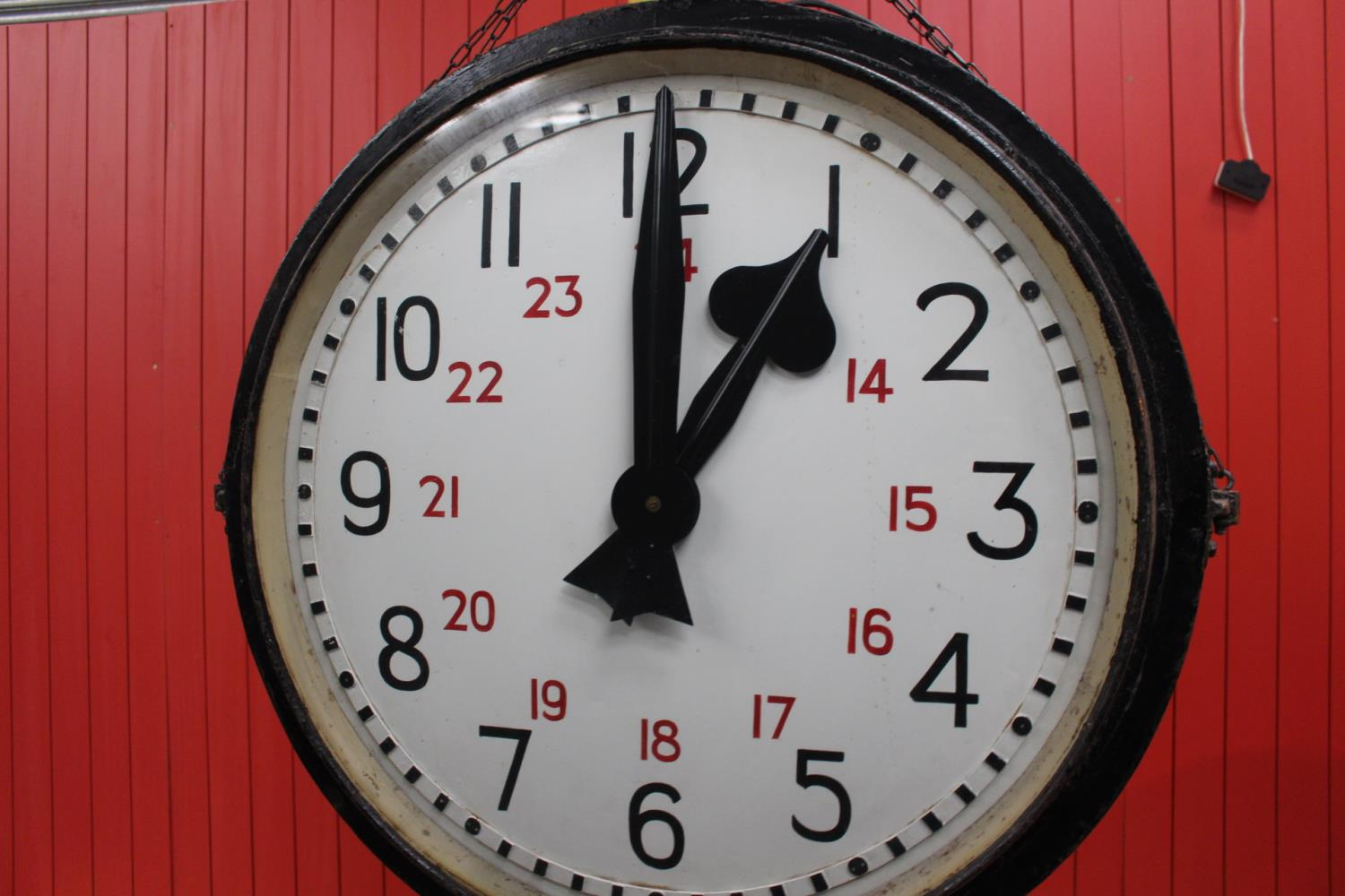 Metal doubled sided Station clock. - Image 3 of 3
