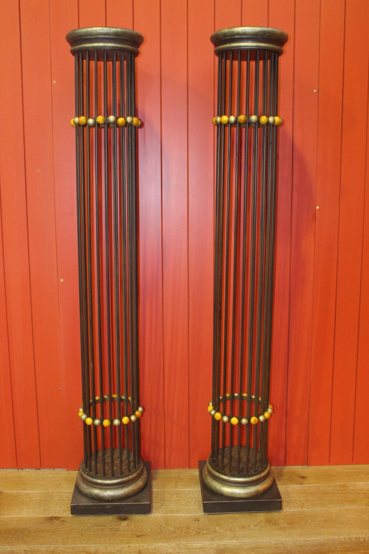 Pair of metal pillars.