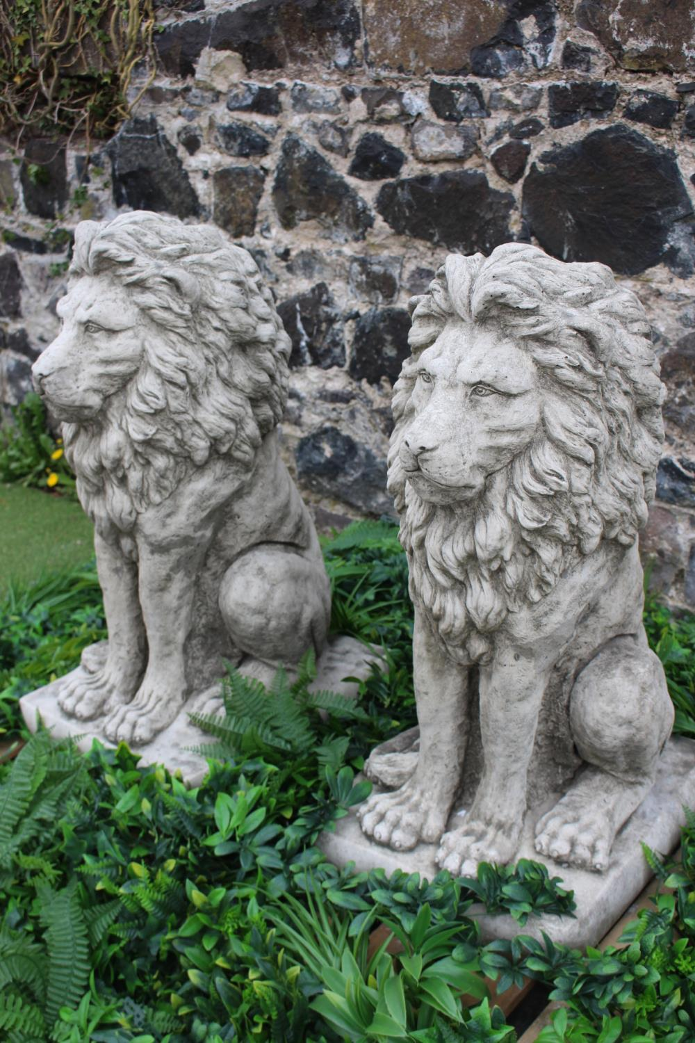 Pair of composition stone models of seated Lions - Image 2 of 2