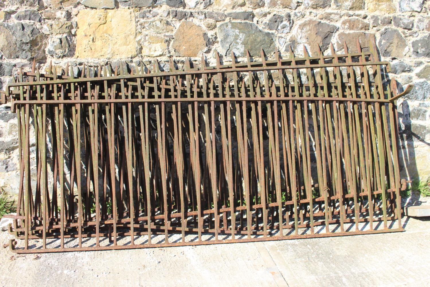 Seven lengths of wrought iron fencing