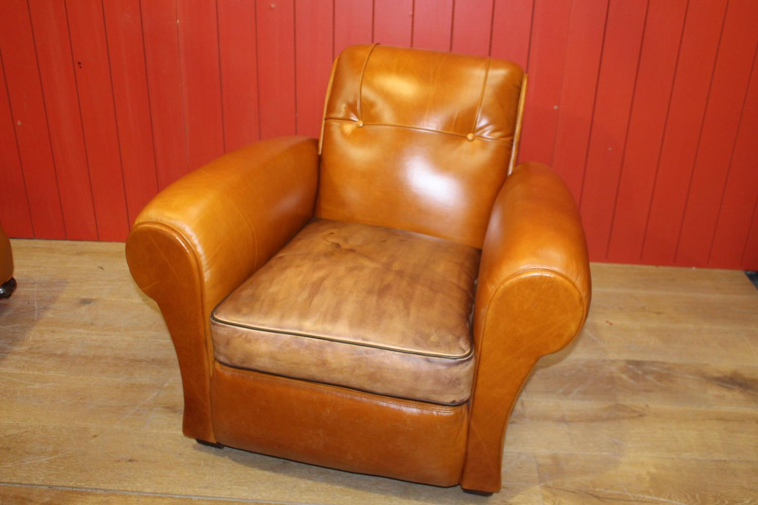 Single leather club chair