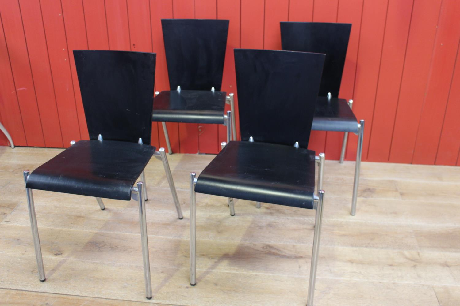 Set of four wooden and white metal side chairs