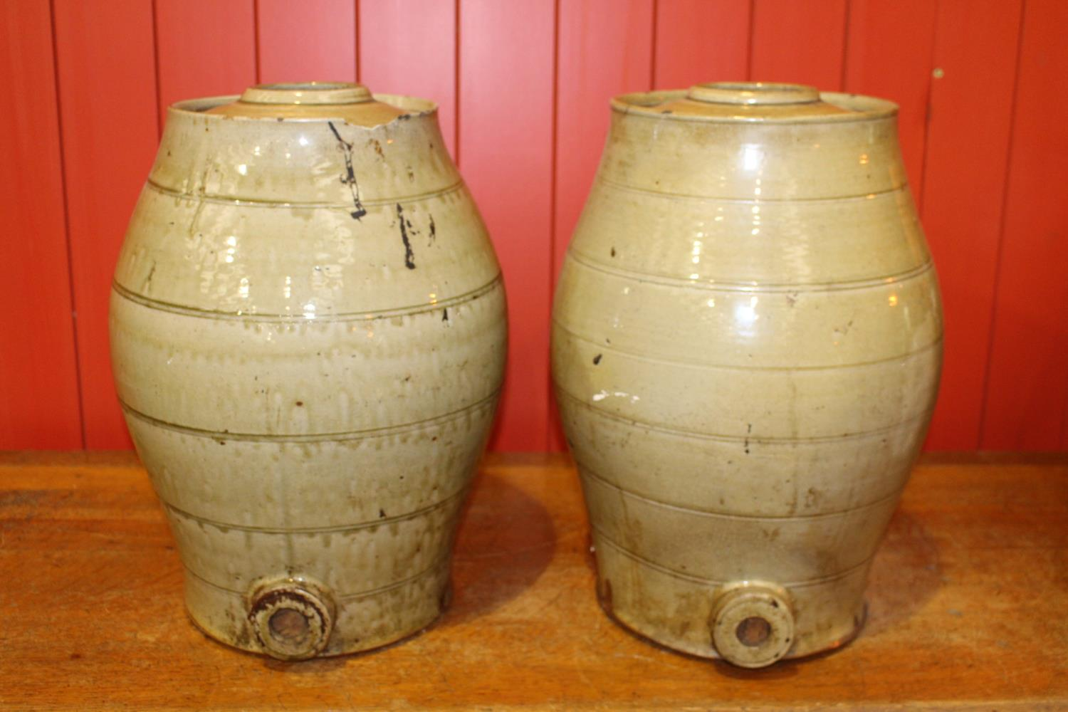 Pair of 19th C. glazed earthenware dispensers
