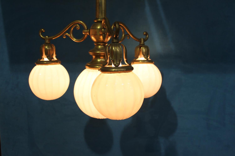 Brass three branch hanging lightshades - Image 2 of 2