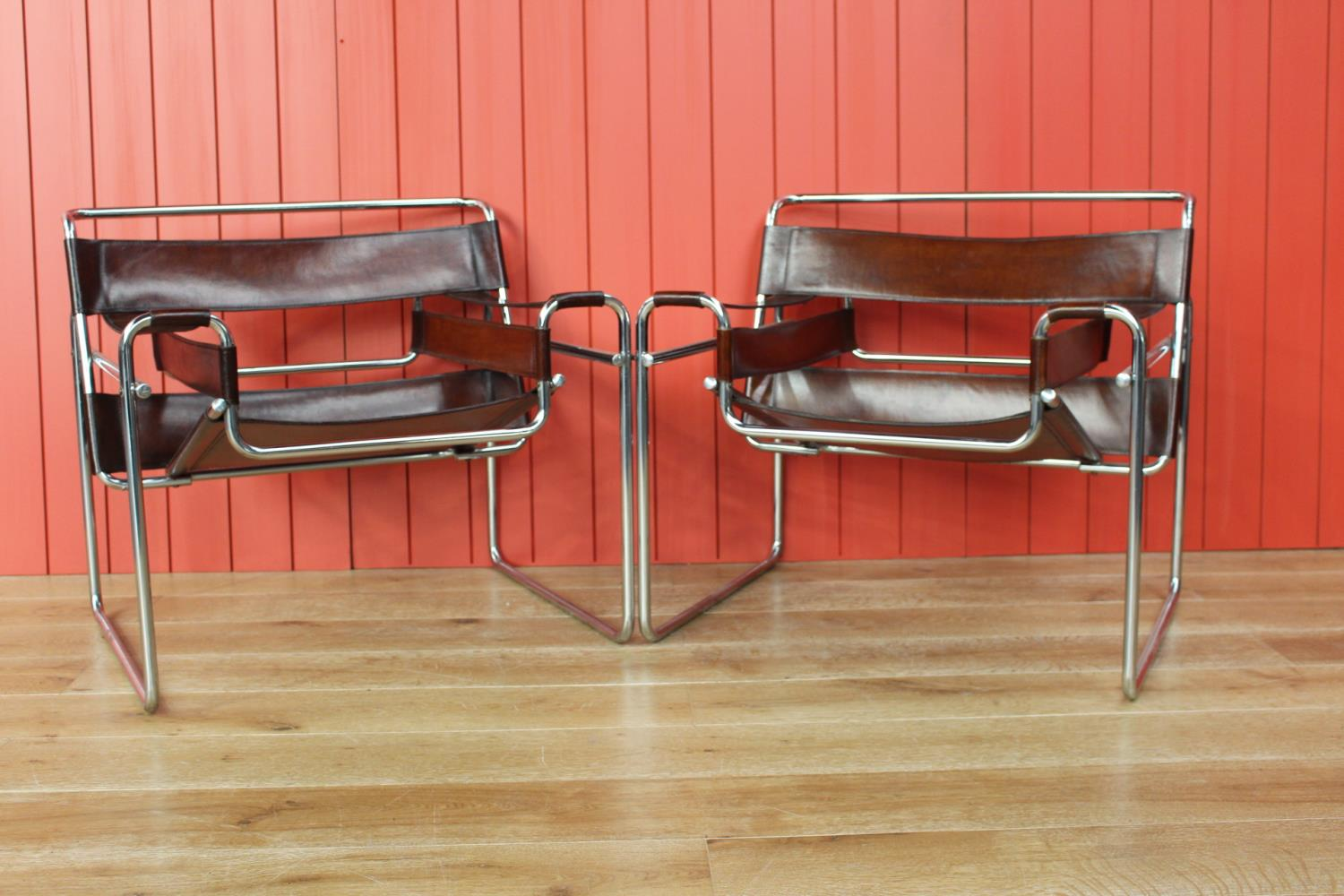 Pair of leather and chrome Director's chairs