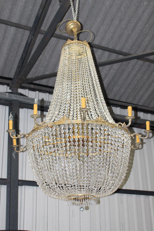 Brass and glass ten branch chandelier