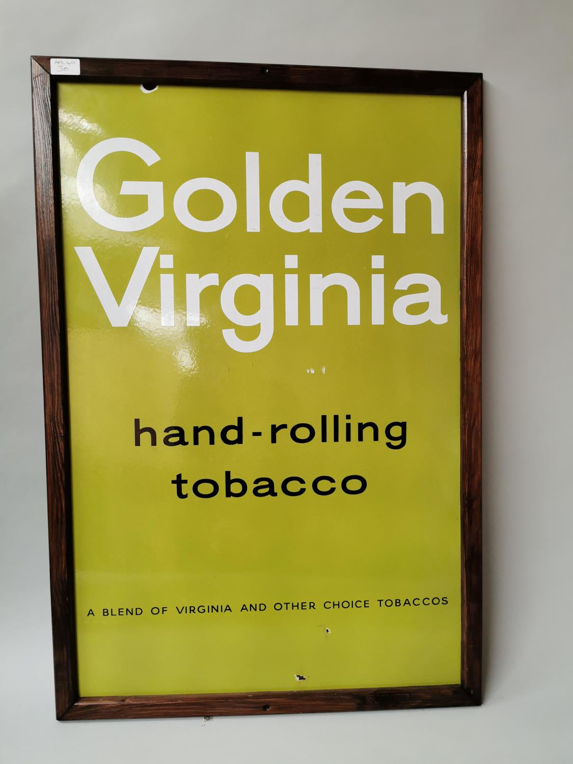 Golden Virginia Tobacco enamel advertising sign.