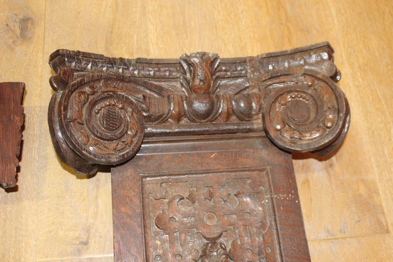 Three 19th C. carved oak flat columns - Image 5 of 6