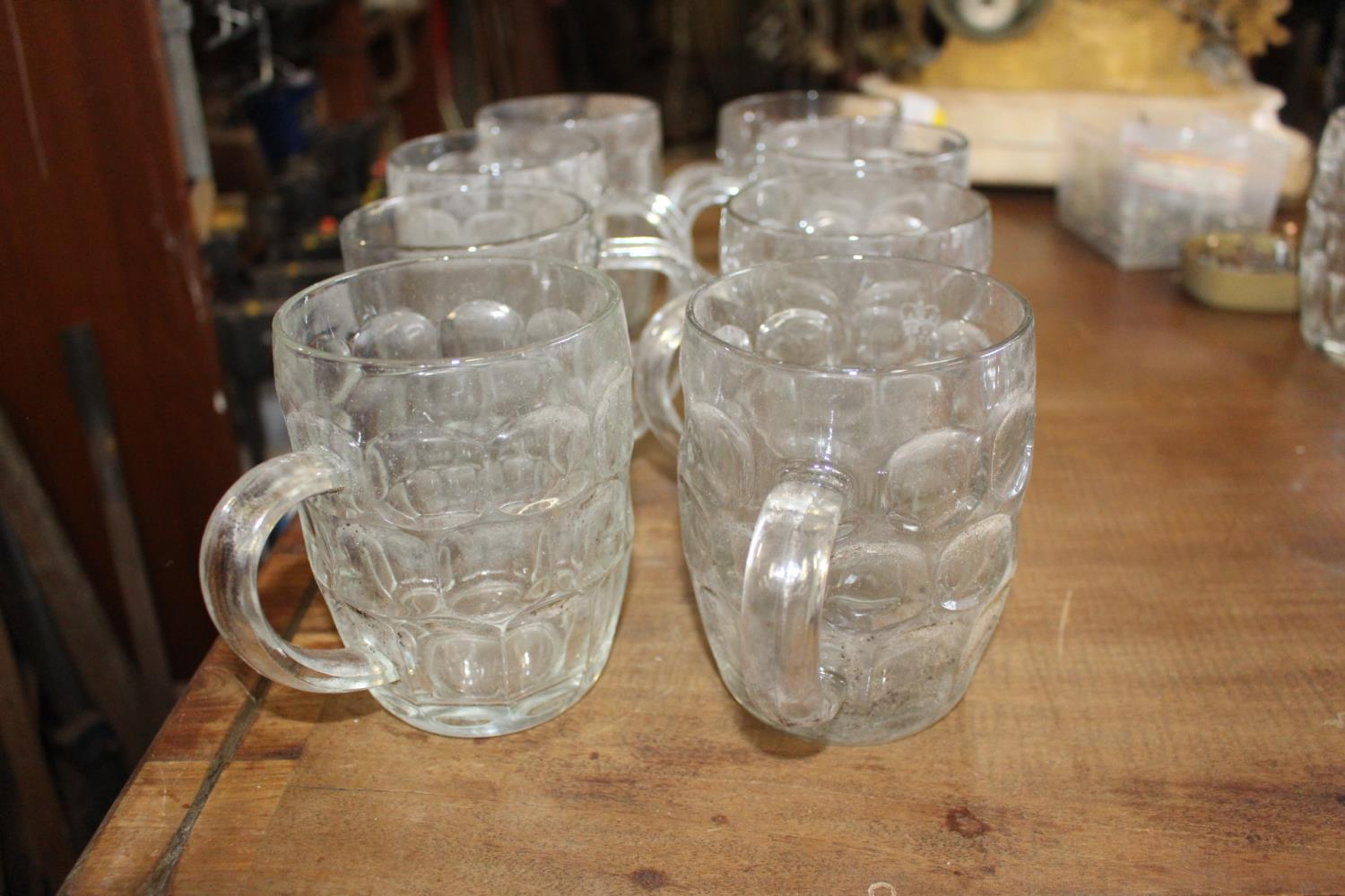 Set of eight glass tankards