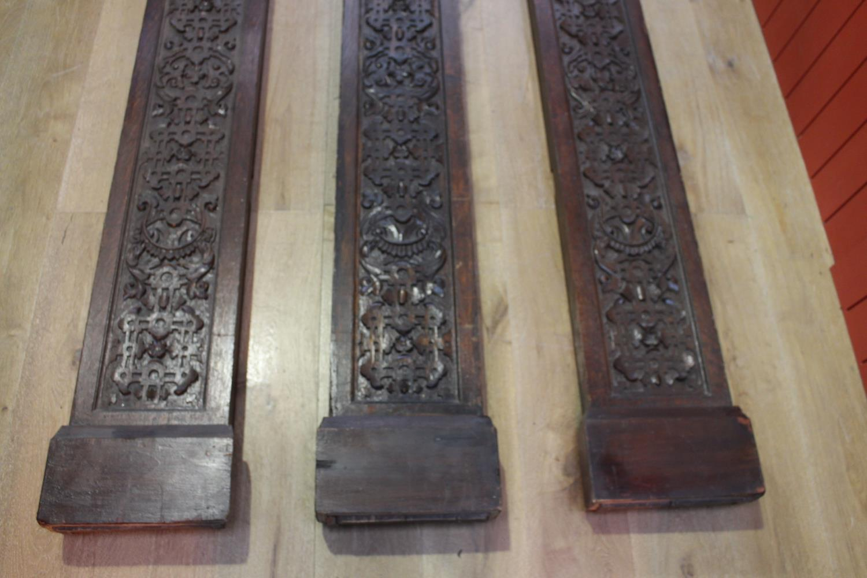 Three 19th C. carved oak flat columns - Image 3 of 6