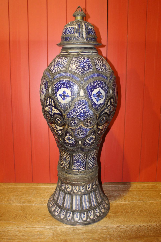 Blue and white glazed urn