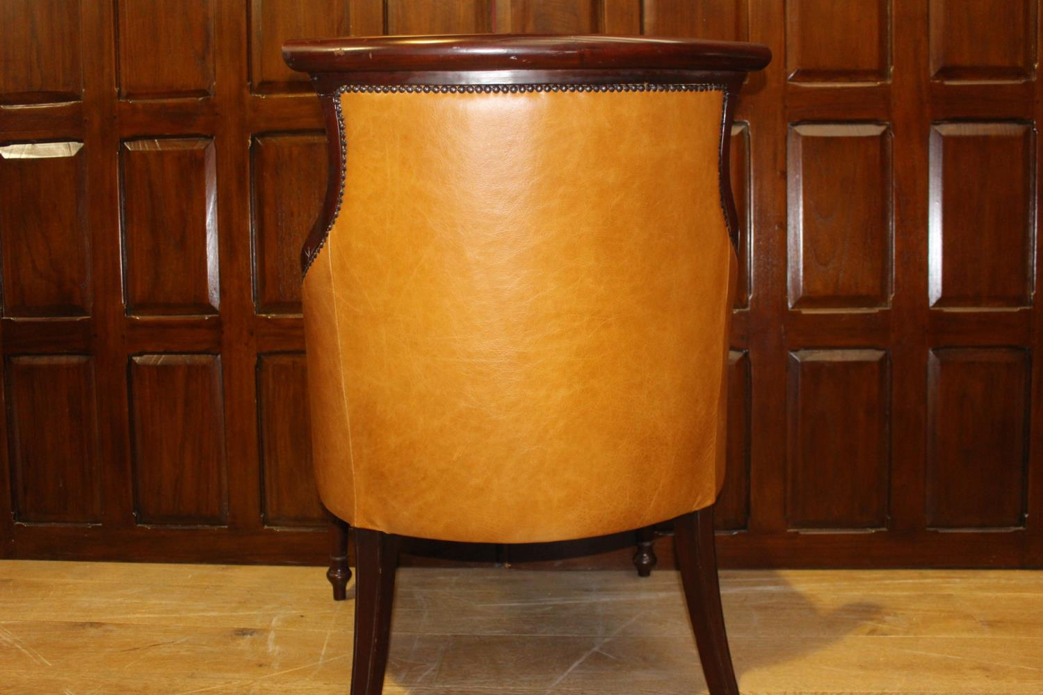 Carved mahogany and leather upholstered armchair - Image 2 of 2