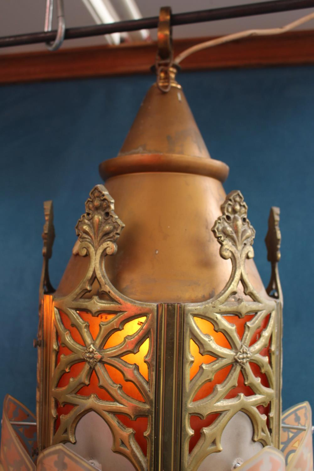 Pair of brass and glass hanging lanterns - Image 2 of 3