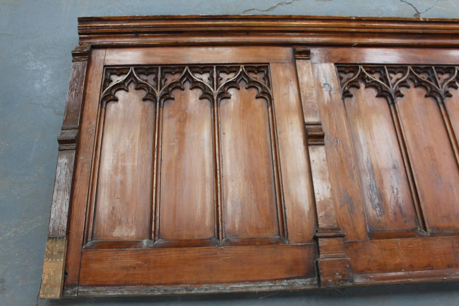 Pitch pine panel in five sections in the Gothic Style. - Image 2 of 4