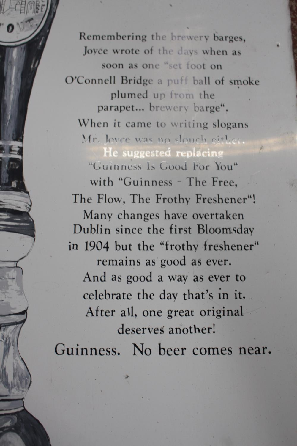Guinness James Joyce metal painted advertising sign - Image 4 of 4