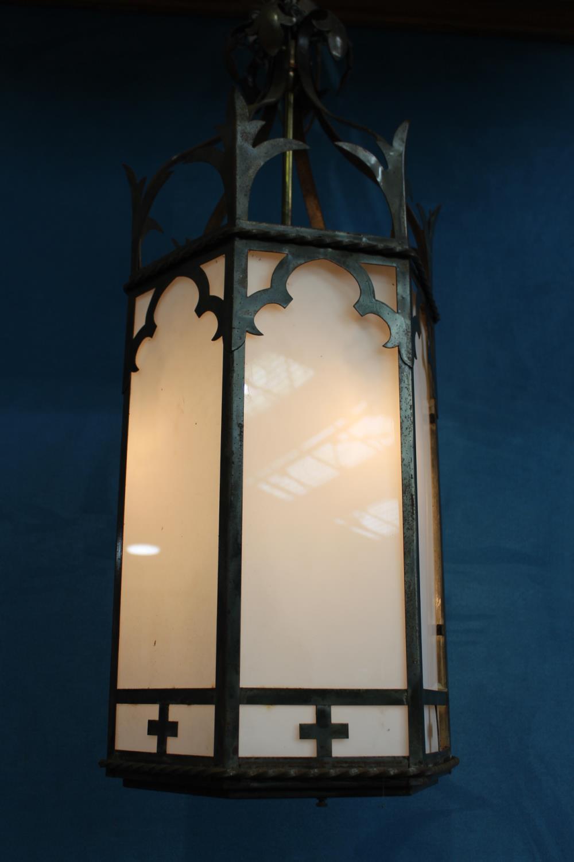 Wrought iron hanging lantern - Image 2 of 2