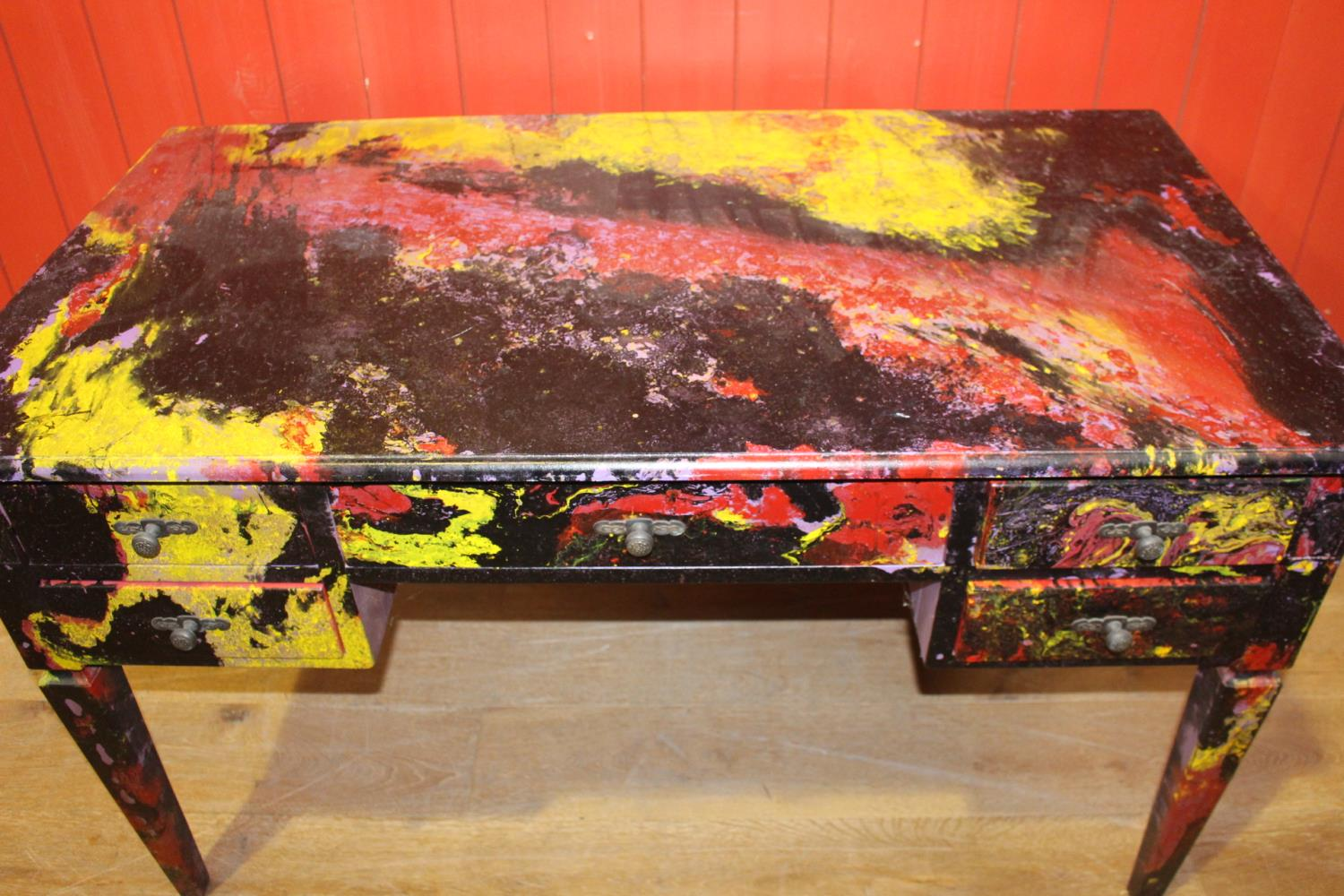 Unusual painted writing desk - Image 2 of 2