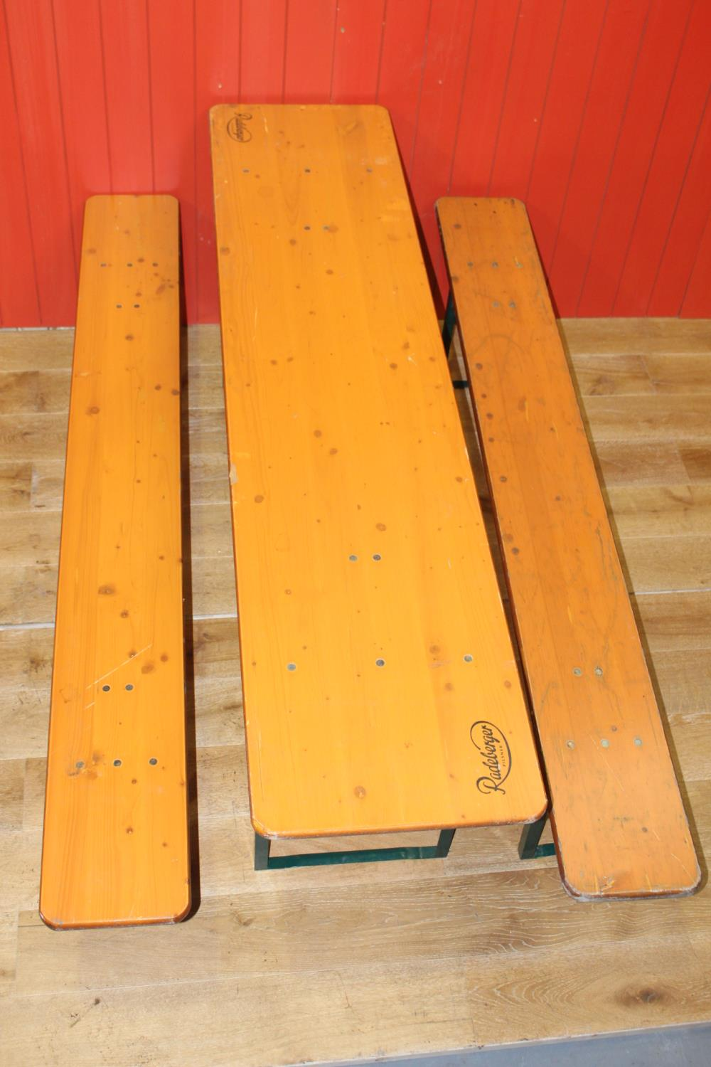Wood and metal table and benches