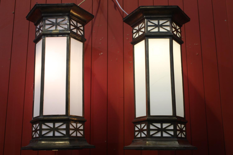 Pair of bronze wall lights