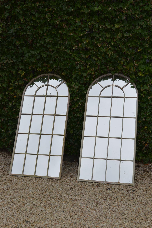Pair of metal wrought iron window frame mirrors