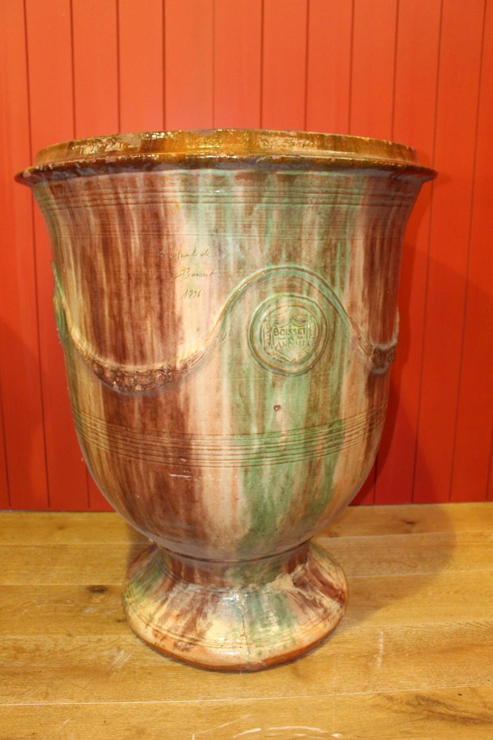 Glazed terracotta urn
