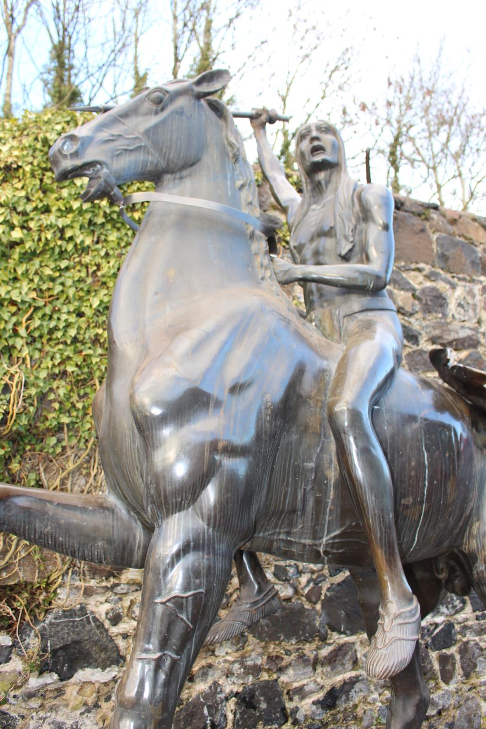 Bronze Model of Horse and Indian - Image 8 of 11