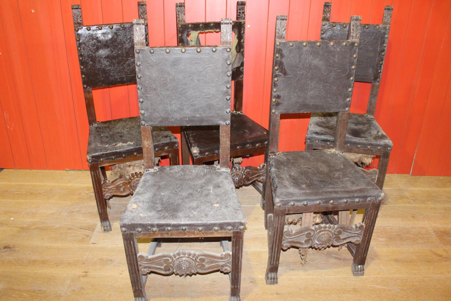 Set of five 19th C. oak and mahogany side chairs