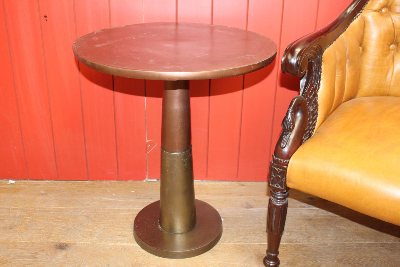 Brushed bronze aluminium side table