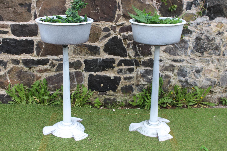 Pair of cast iron planters
