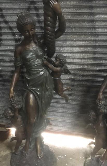 Pair of cast bronze torchieres depicting ladies. - Image 2 of 2