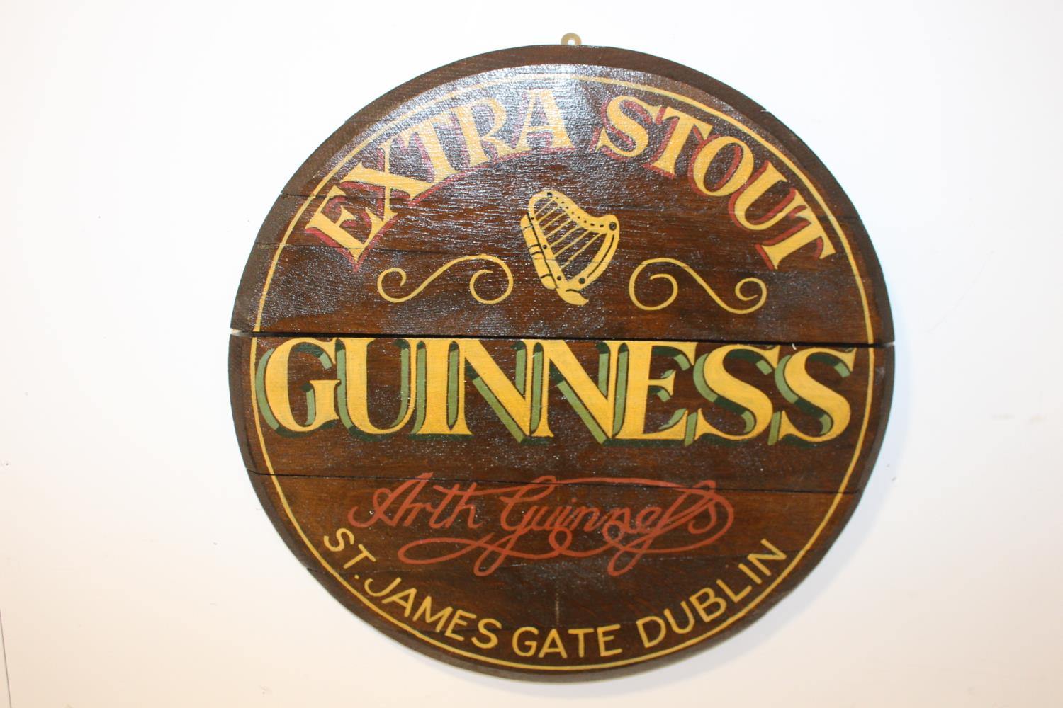 Guinness Extra Stout hand painted barrel end