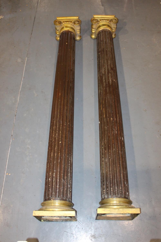 20th C. mahogany pillars
