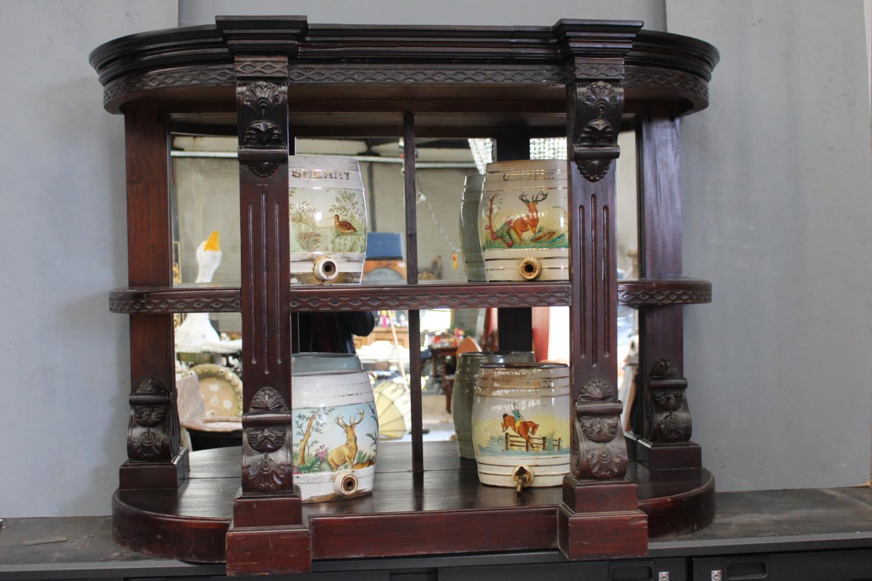 Mahogany mirrored bar back. - Image 2 of 2