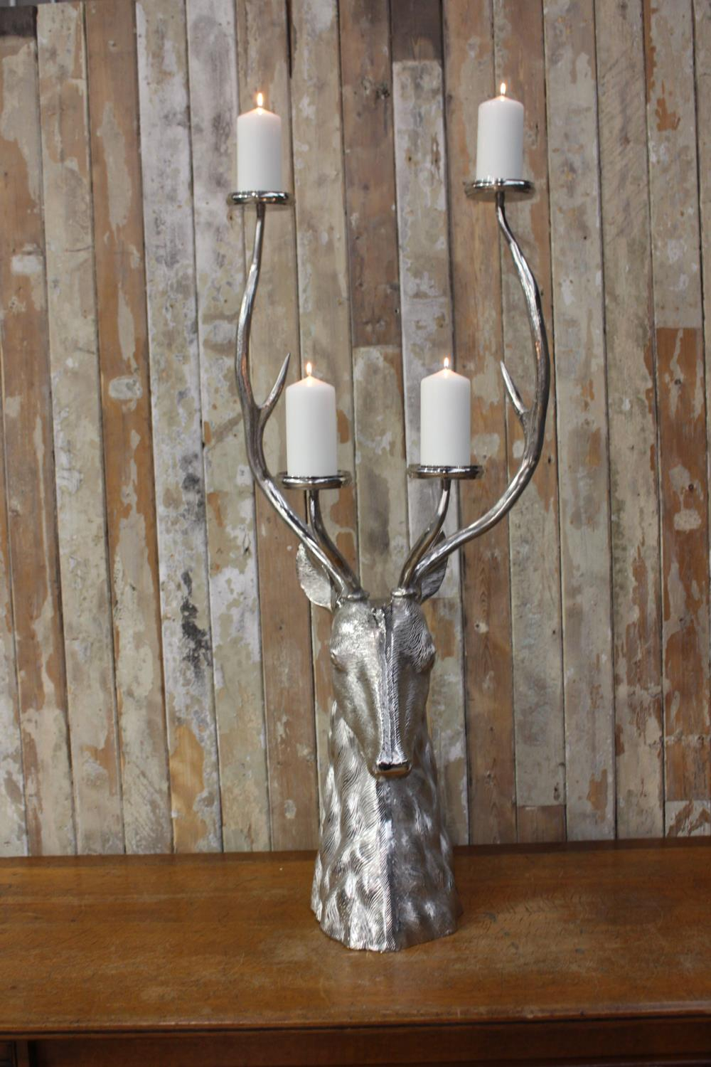 White metal four branch candle holder - Image 2 of 2