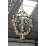 Exceptional quality wrought iron and gilded lantern {150 cm H x 90 cm Dia.}.