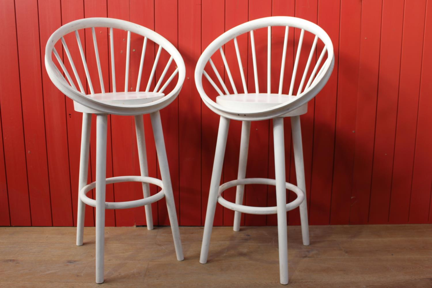 Pair of white spindle backed high stools